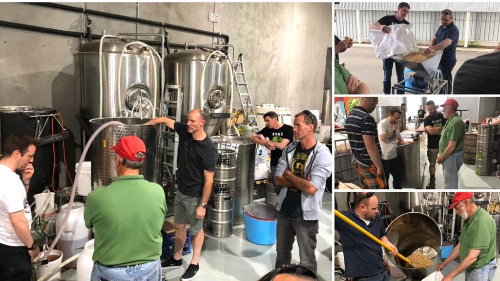 Members brewing at Left Barrel Brewing